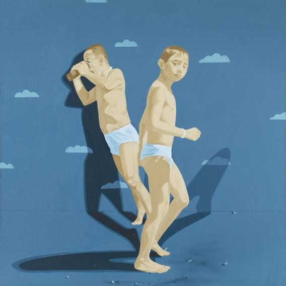 Surrealismus-Bild-moderne-chinesische-malerei-landschaft-poster-drucke-auf-leinwand-hauptdekoration-kunst-versandkostenfrei-Running-man